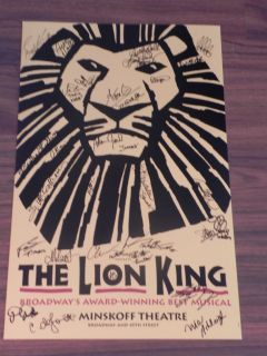 Lion King Cast Signed Broadway Poster Mint