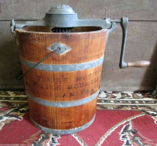 Very Early White Mountain Ice Cream Maker Wooden Bucket Freezer