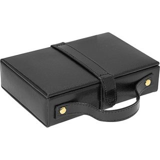 Budd Leather Travel Jewel Box with Mirror   Black