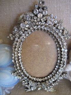 RHINESTONE brooch PICTURE FRAME WISTERIA VINTAGE WEDDING HOLLYWOOD