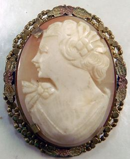 Vintage VICTORIAN, ART NOUVEAU Carved Shell Angel Skin Cameo Pin
