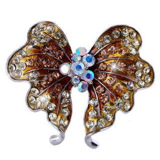 Lots 4pcs brooches rhinestone enamel alloy 18kgp butterfly #22955