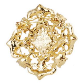 Fashion Wedding Party 6Colors Brooch Pin Gold Plated Rhinestone w