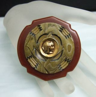 Snake Headdress Cameo Artisan Brooch Pin Vintage Bakelite UNUSUAL