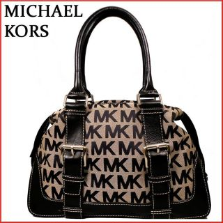 NWT MICHAEL KORS BLACK SIGNATURE BROOKVILLE MEDIUM BOWLING SATCHEL BAG
