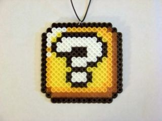 Super Mario Bros Question Block Necklace Jewelry Perler Bead Sprite