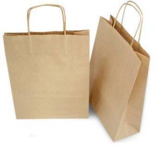 Lot of 50 10x5x13 Kraft Brown Paper Bags w Handle Gift Shopping