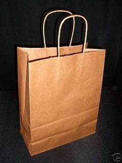 100 Kraft Brown Paper Retail Shopping Gift Bags 8x5x10