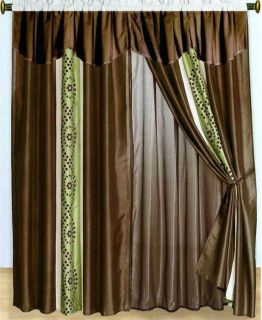new 8 pc brown green beige faux silk curtain set includes 2 separate
