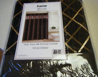 CHOCOLATE BROWN FAUX SILK SHOWER CURTAIN W GOLD SEQUINS SHEER BORDER