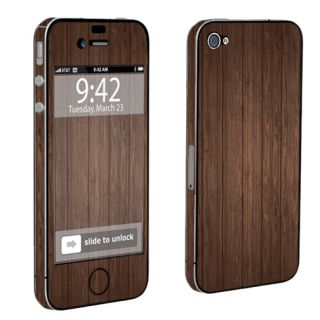 USA Brown Wood Case Decal Vinyl Cover Skin Sticker Apple iPhone 4 4S