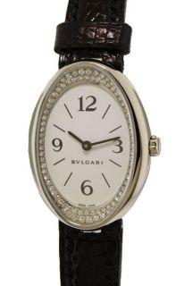 Bulgari Ladies Ovale 18K White Gold Diamond Swiss Made Watch OVW32GL R