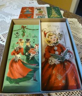 Lot of 11 Vintage Christmas Cards Original Box Envelopes