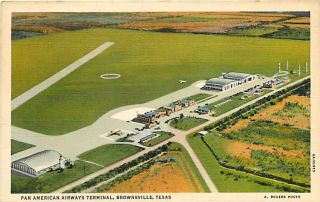 Brownsville Texas TX 1936 Aerial View Pan American Airways Terminal