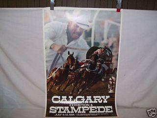 1974 Calgary Stampede rodeo Poster bull riding gear PBR Original