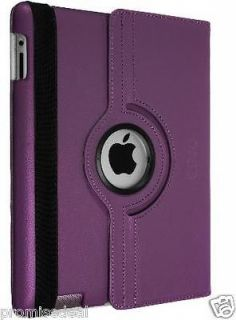 Degree Rotating Leather Smart Cover Case Stand For iPad 2/3/4 PURPLE
