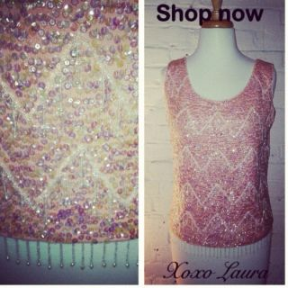 Vintage Top Sequin Beaded Trophy Mod Party Old Hollywood