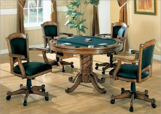 New 3 in 1 Oak Game Dining Table Set Poker Bumper Pool