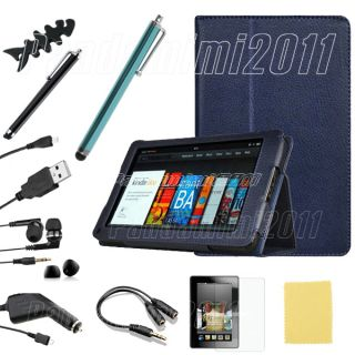 PU Leather Case Cover Car Charger Accessory Bundles For Kindle Fire 7