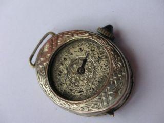 antique brun ladies 20k white gold watch