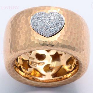 Pasquale Bruni 18K Yellow Gold Pave Diamond Heart Band Ring