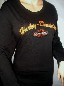 NWT Harley Davidson Black Enbroidered Long Sleeve Shirt Daytona Beach
