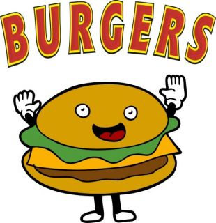 Burgers Hamburgers Concession Decal 12 Food Menu