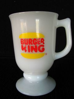 Burger King Restaurant Milk Glass Tall Irish Coffee Style Mug Cup