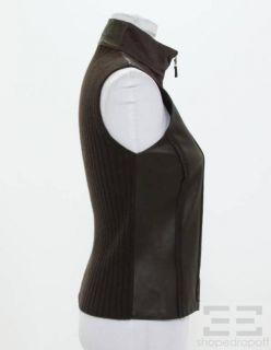 Brunello Cucinelli Chocolate Brown Leather Cashmere Silk Zip Up Vest