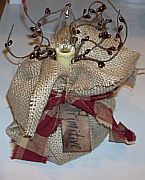 Handmade Primitive Burlap Sack Accent Light Pip Berries