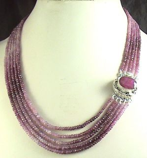 Ruby Shaded Burmese Necklace Designer Ruby Stone Clasp w Earring