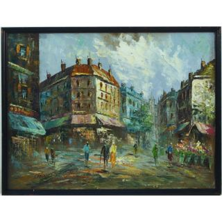 Burnett Parisian French Paris Impressionist Street Scene Acrylic Oil