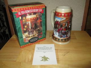 1994 Budweiser Hometown Holiday Holiday Stien Mug Clydesdales Horses