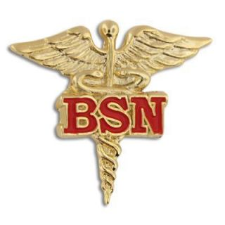 BSN Bachelor of Science Nursing Nurse Gold Caduceus Red Medical Badge