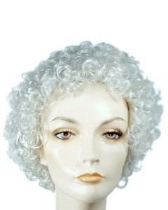 Barbara Bush Mrs Santa Claus Curly White Costume Wig