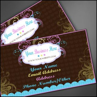 Personalized Business Card Design Custom Brown Flowers