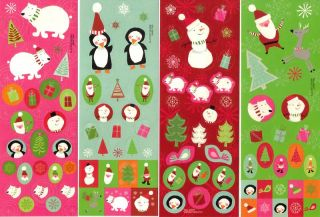 Christmas 100 Stickers Set of 4 Sheets Calendar Cards