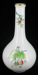 Vintage Herend Orange Red Berries Green Leaves Bud Vase 6