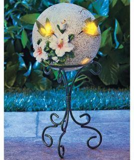 Solar Garden Hummingbird Gazing Globe w/ Metal Scrollwork Stand Yard
