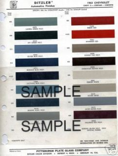 1962 BUICK RIVIERA SPECIAL INVICTA 62 PAINT CHIPS DITZLER 12