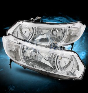 2006 2011 Honda Civic 2DR Coupe JDM Chrome Crystal Clear Headlights