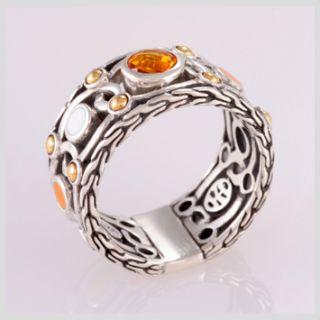 142794 John Hardy Bulan Gold Silver Citrine Colorway Enamel Band Ring