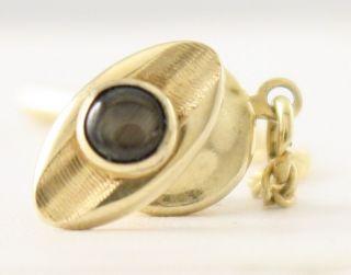 14K Yellow Gold Black Star Sapphire Tie Pin Tie Tack by Dolan Bullock
