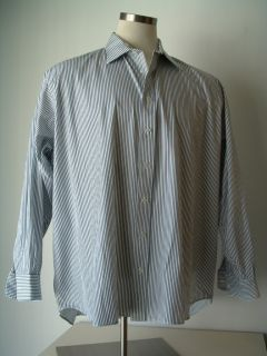 BURBERRY LONDON MENS BLUE PINSTRIPE 100 COTTON BUTTON UP SHIRT SIZE 19