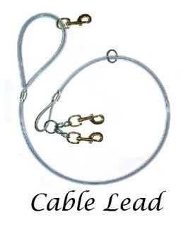Heavy Duty Cable Lead 2 Dog Three Snaps Boar Fox Coon Supplies