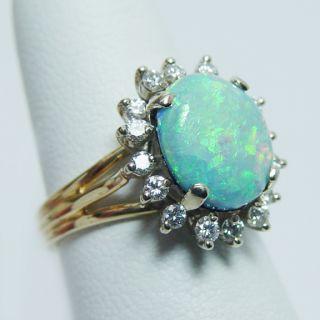 Vintage 14K Gold 3ct Opal Diamond Ring 5.8gr HEAVY Estate Jewelry