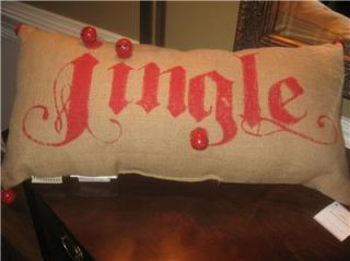 Pottery Barn Jingle Bell Burlap Lumbar Pillow Christmas New with Tags