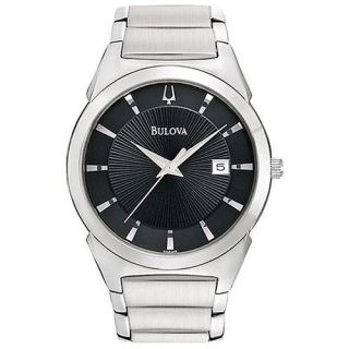 New Bulova Dress Stainless Steel Strap Analog Black Dial Mens Wrist