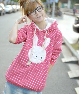 Super Cute Bunny Women Korea Fashion Thick Cotton Winnie Hoodie Top