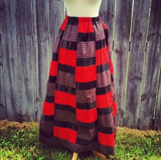 Vintage High Waist Patch Work Quilt Maxi Skirt Hippie Boho Festival